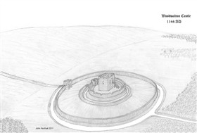 Photo:Sketch of the suggested layout of Woodwalton Castle