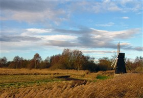 Photo:The wooden windpump at Wicken Fen, the last working example in the Fens, stands proud on the undrained Sedge Fen.